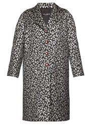Dolce And Gabbana Crystal Button Leopard Jacquard Cocoon Coat Silver Multi