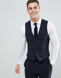 French Connection Brushed Flannel Slim Fit Tobacco Check Waistcoat Blue