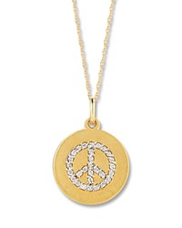 Bloomingdale's Diamond Peace Sign Pendant Necklace In 14K Yellow Gold .15 Ct. T.W. White Gold