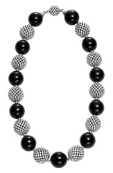 Lagos 'Black Caviar' Beaded Necklace Silver Gold Onyx