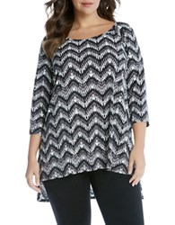 Karen Kane Plus Chevron Printed Three Quarter Sleeve Top Black White