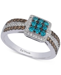 Le Vian Exotics Blue Chocolate And White Diamond Ring 5 8 Ct. T.W. In 14K White Gold
