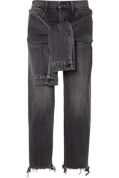 Alexander Wang Tie Front Frayed High Rise Straight Leg Jeans Dark Gray Gbp