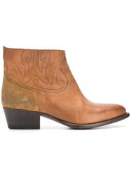 Buttero Western Ankle Boots Brown