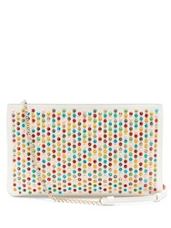 Christian Louboutin Loubiposh Spike Embellished Leather Clutch White Multi