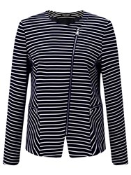 Gerry Weber Zip Through Stripe Blazer Navy White