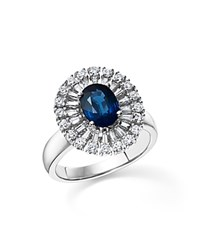 Bloomingdale's Sapphire Oval And Diamond Statement Ring In 14K White Gold