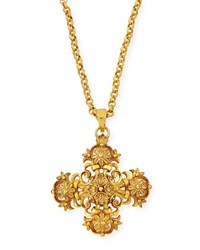 Jose And Maria Barrera Cross Medallion Charm Necklace Gold