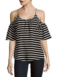 French Connection Polly Striped Cold Shoulder Top Black White