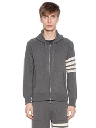 Thom Browne Intarsia Hooded Cashmere Knit Sweatshirt