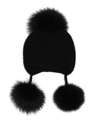 Inverni Triple Fox Fur Pom Pom Cashmere Hat Black