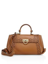 Salvatore Ferragamo Sofia Medium Perforated Leather Satchel Tan