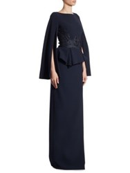 Theia Lace Cape Sleeve Peplum Gown Midnight