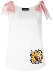 Dsquared2 Ribbon Tie Shoulder Camisole White