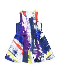 Milly Minis Sleeveless Graffiti Print Flounce Dress Multicolor