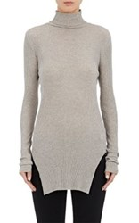 Helmut Lang Women's Cotton Angora Fitted Turtleneck Sweater Light Grey