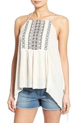 Junior Women's Sun And Shadow Embroidered Handkerchief Hem Tank