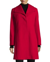 Fleurette Wing Collar Long Wool Coat Apple