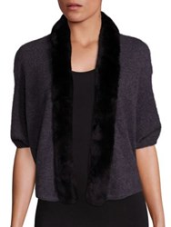 Saks Fifth Avenue Rabbit Fur Lapel Cashmere Open Cardigan Onyx Black