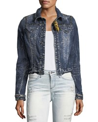 Robin's Jeans Washed Cropped Denim Jacket W Studs Blue