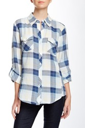 Sandra Ingrish Plaid Button Tab Sleeve Shirt Green