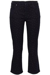 Love Moschino Printed Mid Rise Kick Flare Jeans Midnight Blue