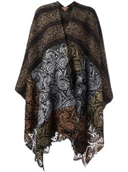 Ermanno Gallamini Lace Detail Striped Cape Brown