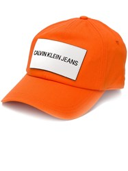 Calvin Klein Jeans Logo Patch Cap Yellow And Orange