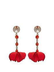 Marni Flower Drop Crystal Embellished Clip Earrings Red