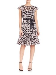 Teri Jon By Rickie Freeman Dot Print Pintuck Dress Pink