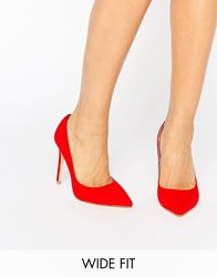 Faith Wide Fit Chloe Red Court Shoes Red Mf