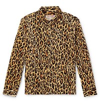 Wacko Maria Leopard Print Cotton Velour Jacket Brown