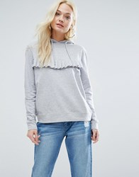 Daisy Street Lightweight Hoodie With Ruffle Front Grey