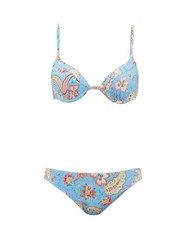 Etro Floral And Paisley Print Underwired Bikini Light Blue
