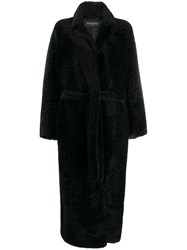 Simonetta Ravizza Shearling Long Coat Black