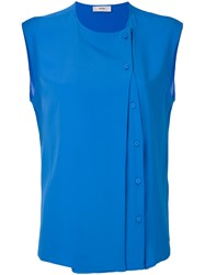 Mauro Grifoni Side Button Sleeveless Blouse Blue