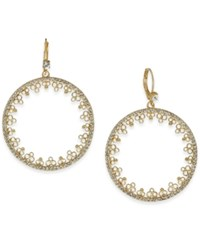 Kate Spade New York Gold Tone Imitation Pearl And Pave Disc Drop Earrings