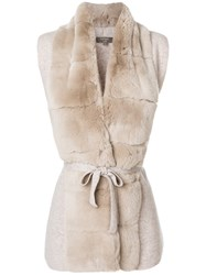 N.Peal Fur Placket Cashmere Gilet Nude And Neutrals