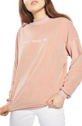 Topshop Women's By Tee And Cake Don't Touch Me Velvet Sweatshirt