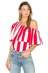 Edit One Shoulder Ruffle Top Red