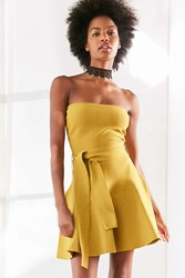 C Meo Collective Perfect Timing Strapless Mini Dress Chartreuse