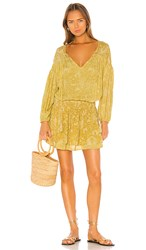 Indah Sashi Printed Blouson Mini Dress In Yellow. Saffron Batik