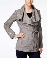 Laundry By Shelli Segal Faux Suede Draped Asymmetrical Trench Coat