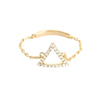 Astrid And Miyu Tuxedo Triangle Chain Ring In Gold