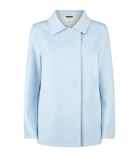 Cinzia Rocca Wool Angora Short Pea Coat Female Blue