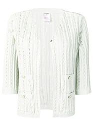 Chanel Vintage Knitted Open Front Cardigan Green