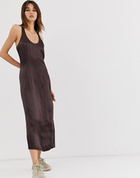 Weekday Limited Edition Satin Midi Dress In Dark Brown