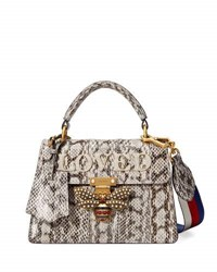Gucci Queen Margaret Loved Snakeskin Top Handle Bag Roccia Natural Animal Print