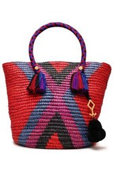 Yosuzi Woman Fara Tasseled Woven Straw Tote Multicolor