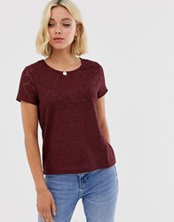 Jdy Tag Lace Knit Top Red